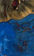 Gwynne - Pixel 3a Wood+Resin Case - Gwynne (Blue & Red, 074992)
