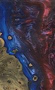 Lucinda - iPhone Xs Max Wood+Resin Case - Lucinda (Blue & Red, 091450)