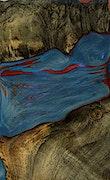 Reinhard - Pixel 3a Wood+Resin Case - Reinhard (Blue & Red, 078951)
