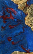 Virgie - iPhone Xs Max Wood+Resin Case - Virgie (Blue & Red, 071048)